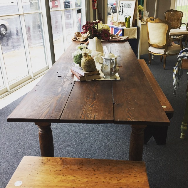 Beautiful farm table made with Hart Pine.  This table will seat 12 -14 people.  Table length 9.5 feet and 3 foot wide.  Call 301-331-9963 or stop by 217 W Patrick St Frederick, MD. $1,599 and 10% discount through 5/31/15  #frederickmd #downtownfrederick  #downtownleesburg #DIY #repurposed