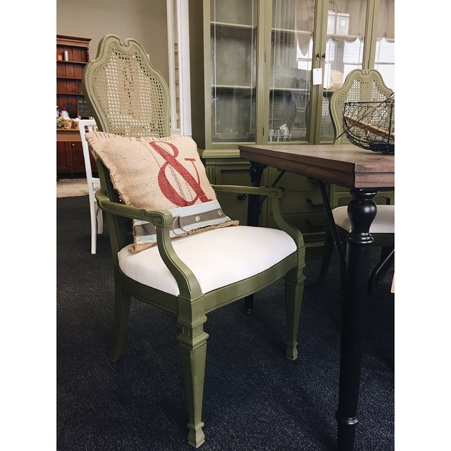 Gorgeous olive green dining chair set of 6, China cabinet/hutch, and reproduction farmhouse table available at our Frederick shop! We have beautiful, unique items that you really don't want to miss. Stop by or comment below for pricing details