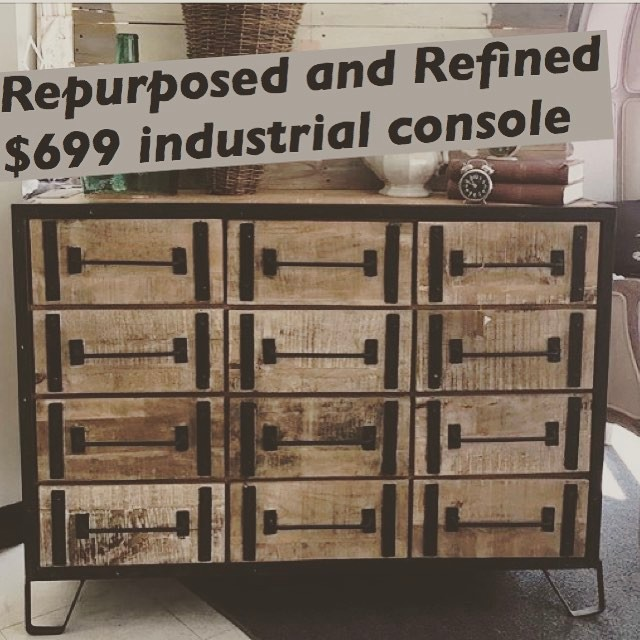Unique console. Love mixing industrial with a variety of design styles. How about you? #repurposedandrefined4sale #hagerstownmd #vintageshop #industrialdesign #unique #sweetcloverbarn #beavercreekantiquemarket